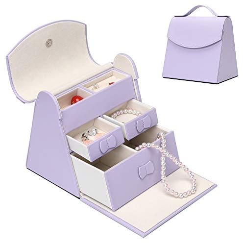 X•Rhea Girls Jewelry Box, Princess Adorable Jewelry Trinket Box Gifts for Girl- Lavender
