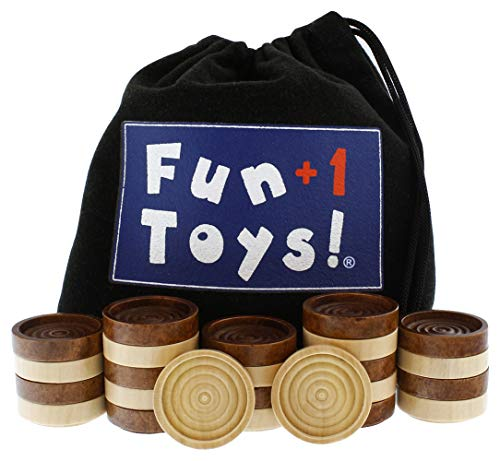FUN+1 TOYS! Classic Wood Checkers Stackable Pieces - Set of 26 Total Checkers Pieces in a Velvet Drawstring Storage Pouch. Each Piece 1.25-Inch Wide and in Brown/Natural Colors.