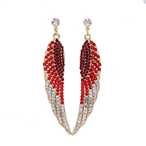 Angel Gold Earrings (Red Long Angel Wings Earrings For Women Girls Fashion Feather Punk Style Crystal Rhinestone Earrings)