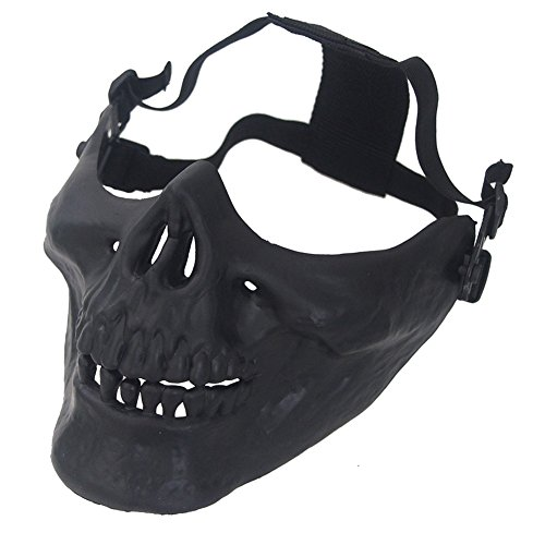 Aiyuda Skull Skeleton Half Face Mask Hard Protective Gear for Airsoft Paintball Hunting CS Wargame Masquerade Costume Party Halloween Black ()