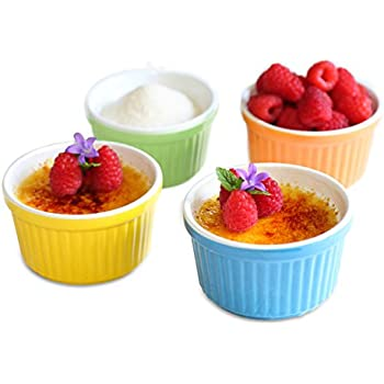 Uno Casa Colorful Ramekins in Ceramic - 5 oz Set of 4 - 3.75 x 2 inch - Professional Grade Baking Ceramic