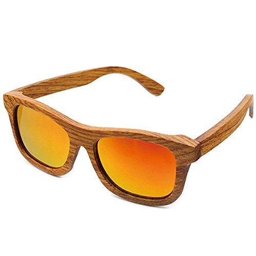 MOTELAN Handmade Polarized Pear Wood Sunglasses Anti-glare Classic Wooden Glasses Red