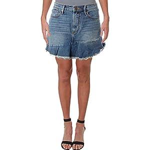 Aqua Womens Denim Raw Hem Mini Skirt Blue 30