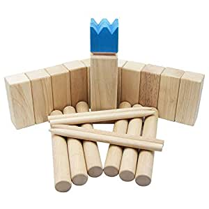 Bloodyrippa KUBB Garden Game, Original Viking Chess Set for Backyard, Lawn, Beach, Made of Solid Hard Wood, Ages, Carry Bag Included, Blue King