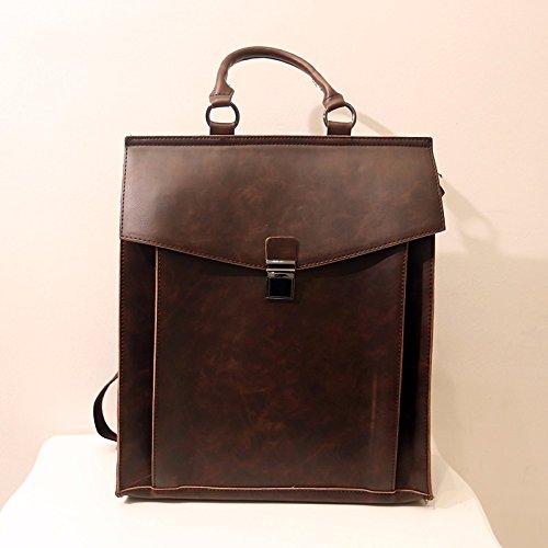 ZHUDJ 2017 British College Wind Backpack, Document Postman, Retro Fashion Men'S Bags, Backpacks, Student Bags,Coffee Coffee
