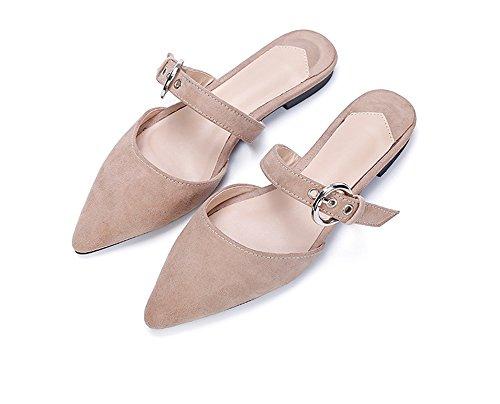 (Women Cute Mules Pointed Toe Pumps Heels Mary Jane Sandals Shoes(Beige 40/9.5 B(M) US Women) )