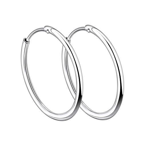 YL 30mm Hoop Earrings 925 Sterling Silver Polished Circle Endless Earrings Hoops Diameter Jewelry