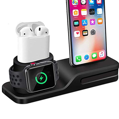 online retailer 74551 7765f ETbotu 3 in 1 Charging Dock Holder for iPhone X 8 7 Silicone Charging Stand  Dock Station for Apple Watch Airpods