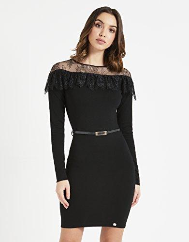 ea5963c2d959 ... Lipsy Damen Kleid mit Spitzenbesatz und Bindegürtel Schwarz 263jhLB ...