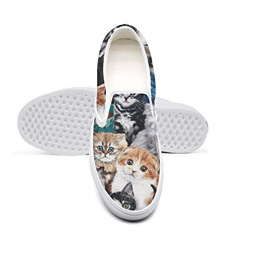24a51ce6a2fd9 Cute Kitty Cat Baby Womens Ladies Shoes Canvas Sneakers White Slipons Retro  Casual Sneakers Running Shoes