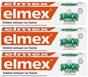3本セット elmex エルメックス 子供用 歯磨き粉 75ml (6歳~12歳)【並行輸入品】