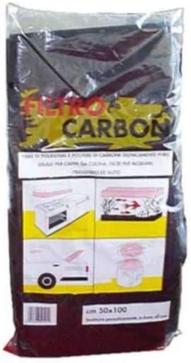 Filtro para campanas extractoras de carbón activo, de fibra de poliéster y polvo de carbón.