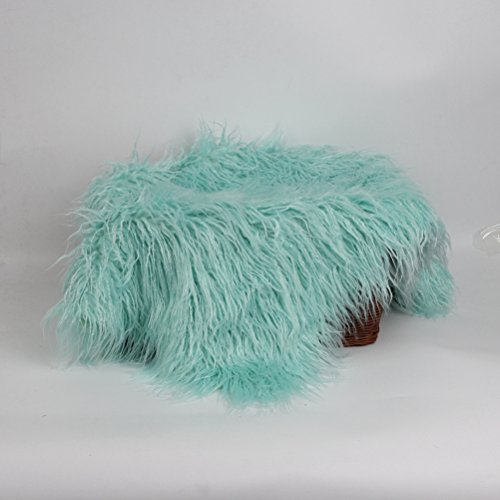 NUOLUX Baby Newborn Fur Photography Photo Props Blanket Rug Beanbag Background Backdrops (Pale Green) by NUOLUX