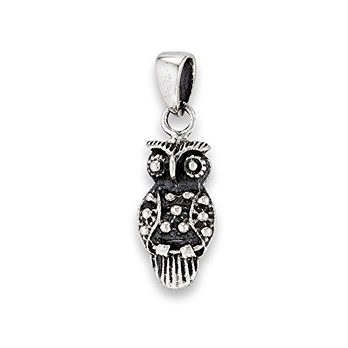 Bird Owl Pendant .925 Sterling Silver Wisdom Branch Vintage Style Oxidized Charm Jewelry Making Supply Pendant Bracelet DIY Crafting by Wholesale Charms