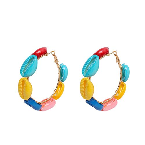 Cowrie Shell Hoop Earrings for Women Beach Bohemian Dangle Jewelry Multicolour G4275A ()