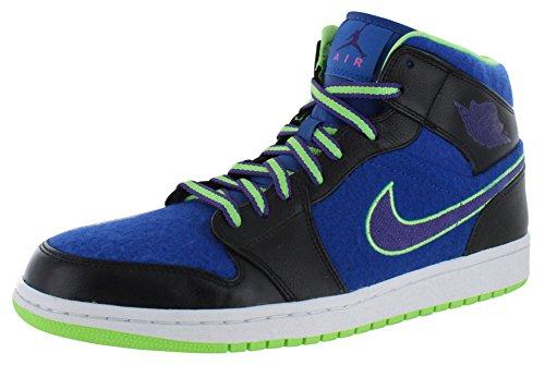 2a82e392f93f Nike Mens Air Jordan 1 Mid Retro Basketball Shoes Black Purple Game  Royal Flash Lime 633206-040 Size 10.5 - Buy Online in KSA.