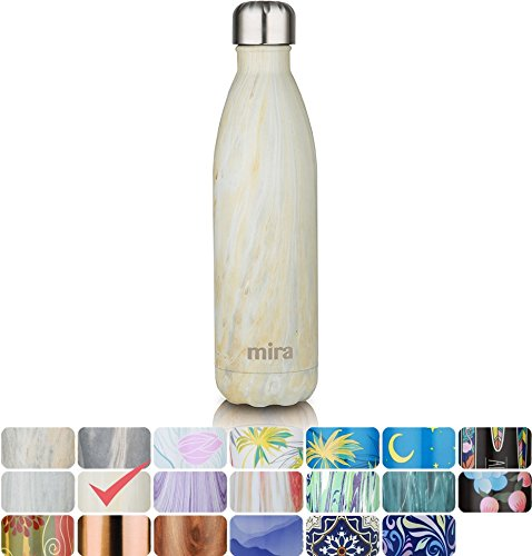 MIRA Vacuum Insulated Travel Water Bottle | Leak-proof Double Walled Stainless Steel Cola Shape Sports Water Bottle | No Sweating, Keeps Your Drink Hot & Cold | 25 Oz (750 ml) (Yellow Granite)