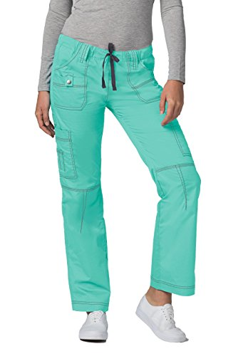 Adar Pop-Stretch Junior Fit Low Rise Multi Pocket Straight Leg Pants - 3100 - Sea Glass - L (Glass Stretch)