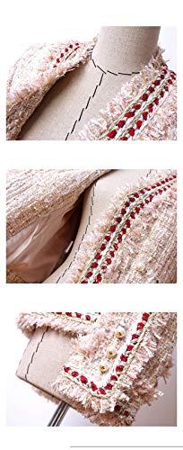 Perle Con Fibbia Di Oro Giacca In Donna Tweed Cappotto Fragranze Piccole Dgfhr Da Chiaro Color 76wqOC71