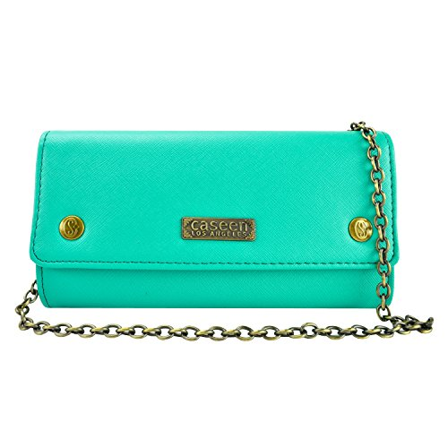 Smart Phone Purse, caseen ALESSA Fashion Leather Purse Shoulder Bag Wallet (Turquoise Mint Teal Green) w/Chain Strap, Credit Card ID Pockets, Zipper Coin Holder