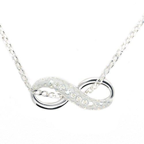 0da334f818 Collana con ciondolo a forma di simbolo dell'infinito, in argento Sterling  con cristalli