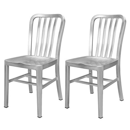 Renovoo Aluminum Dining Chair, Set of 2, Commercial Quality, Brushed Aluminum Finish, 18 inches Seat Height, Indoor Outdoor Use