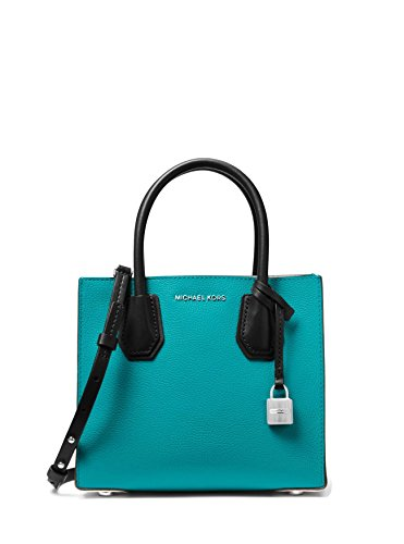 f5b9368c6595 MICHAEL Michael Kors Mercer Color-Block Leather Crossbody Bag – Teal Blue