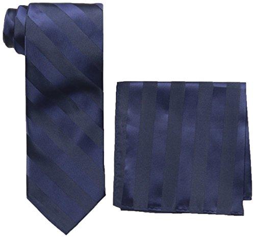 Stacy Adams Men's Solid Woven Formal Stripe Tie Set, Navy, One Size (Stacy Adams Ties)