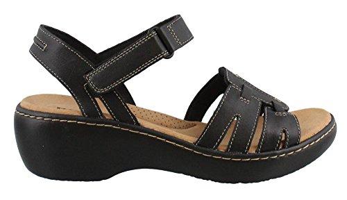 CLARKS Women's Delana Nila Platform, Black Leather, 7.5 Medium US