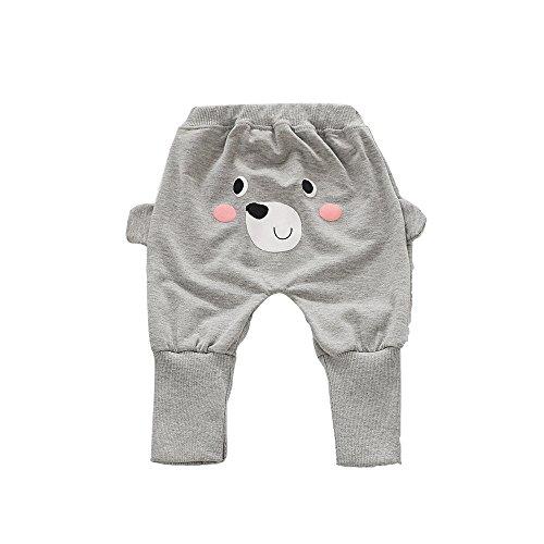 TIFENNY Kids Cute Cartoon Bear Printing Leisure Harem Pants (3T, Gray) - Bear Printing