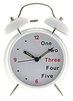 """4"""" Bedside Alarm Clock with Backlight - White on White"""
