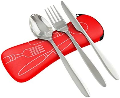 3 Piece Stainless Steel (Knife, Fork, Spoon) Portable Travel/Camping Cutlery Set with Neoprene Case: Amazon.es: Deportes y aire libre