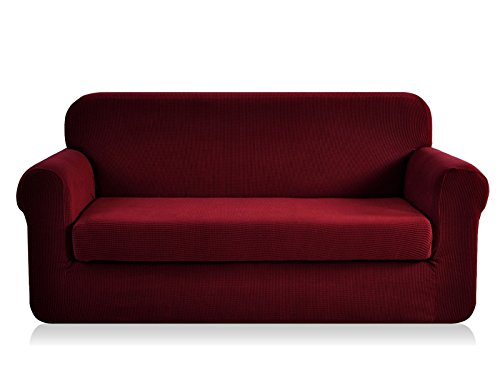 CHUN YI Jacquard loveseat Covers 2-Piece Stretch Polyester Spandex Fabric Couch Slipcover, 2 Seater Sofa Protector (Loveseat, ()