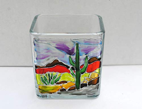 - Southwestern Cactus Landscape Hand Painted Stained Glass Square Candle Holder, Home Decor