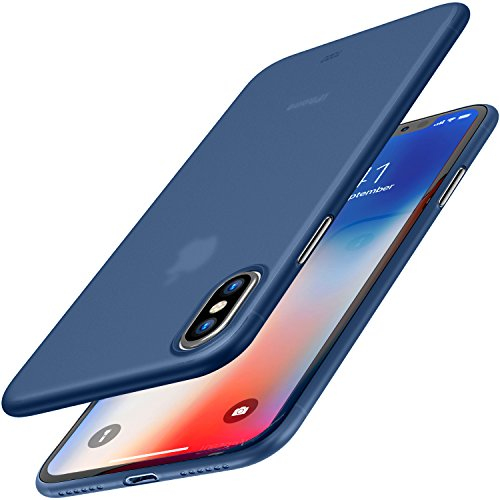 TOZO for iPhone X Case, Ultra Thin Hard Cover [0.35mm] World's Thinnest Protect Bumper Slim Fit Shell for iPhone 10 / X [ Semi-transparent ] Lightweight [Matte Blue]