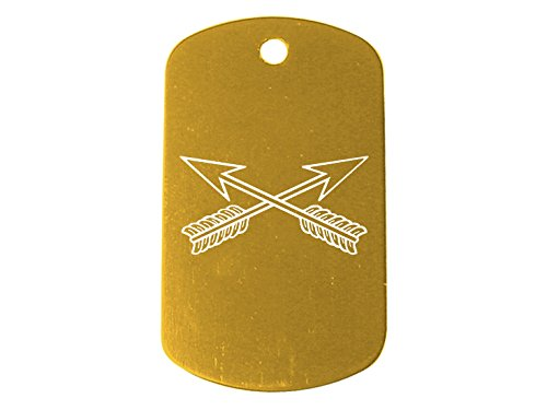 Light Gold Dog Tag Kit With 24'' Chain & Silencer US Army Special Forces (Arrow Silencers)
