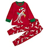 Kids Toddler Boys Xmas Cute Cartoon Dinosaur Skeleton T-Shirt Pants Set Pajamas Size 3-4 Years/Tag110 (Red)