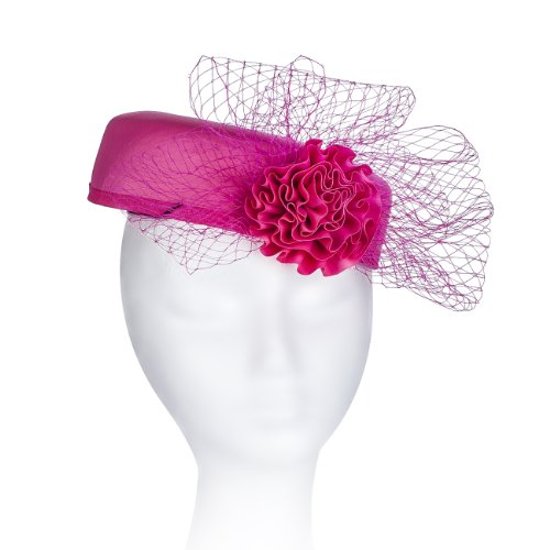 Janeo Royal Middleton Pillbox Fascinator Hat Headwear. Classic, Crisp and Clean Shape with Net Bows Fan and Fabric Rose Centre. Pearlised Satin Pill Box in Five Versatile Colours: Turquoise Blue, - Versace Diamond Pink