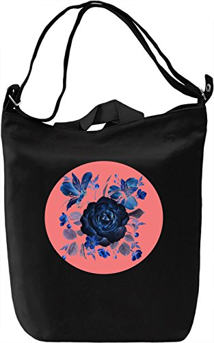 Blue Flowers Borsa Giornaliera Canvas Canvas Day Bag| 100% Premium Cotton Canvas| DTG Printing|