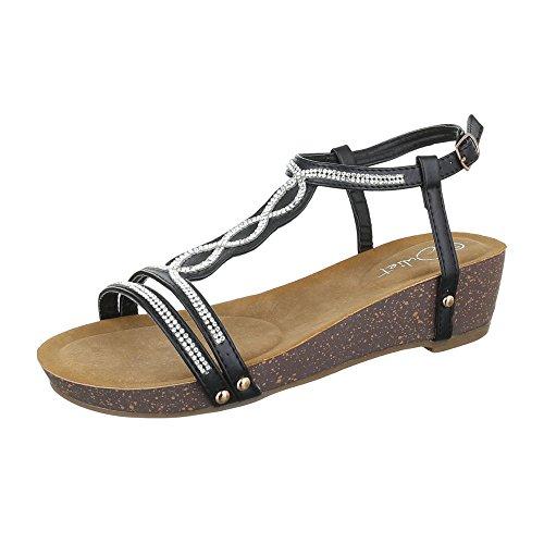 Schwarz femme Design Ital chaussures compensées qBIpSp1w