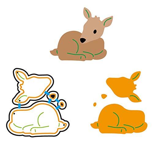 Zzeroe Cutting Dies Halloween Animal Pumpkin Embossing Stencil Template Mould for DIY Scrapbook Photo Album Embossing Craft Decoration Paper Card Making(Deer) -