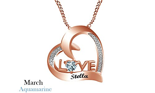 Personalized Engravable Simulated Aquamarine Couple's Birthstone Love Heart Pendant Necklace Sterling Silver by Jewel Zone US