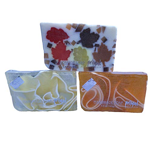 Autumn Leaf Soap - Handcrafted Fall Soap Collection with Autumn Leaves, Pumpkin and Tomato Ultra Moisturizing and Decorative Vegan GMO and Gluten free 6 oz Each