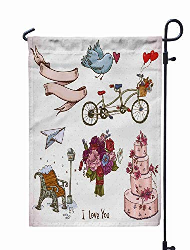 Shorping Spring Garden Flag, 12x18Inch Doodle Set Elements of Day and Wedding Drawn for Holiday and Seasonal Double-Sided Printing Yards Flags ()