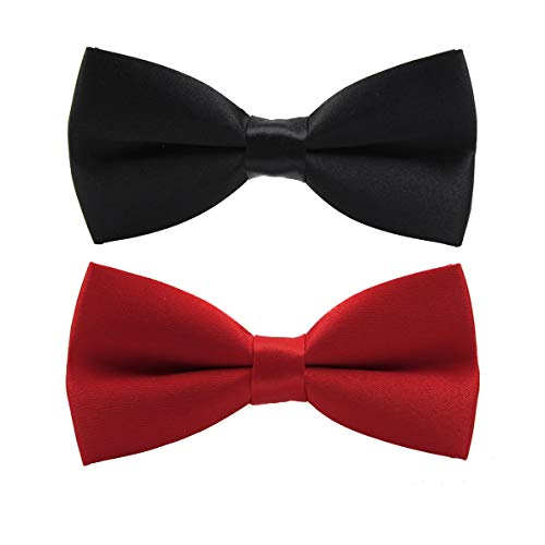 ed Bow Tie for Boys Kids Formal Solid Tuxedo Neck Bowtie Adjustable Length 2 Pack Black Red ()