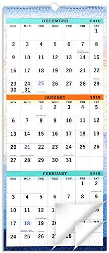 2019 Wall Calendar - 3-Month Display Vertical Calendar, Calendar Planner 2019, 11