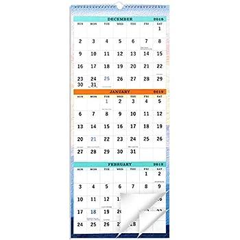 3 Month Wall Calendar 2020 Amazon.: 2019 Wall Calendar   3 Month Display Vertical