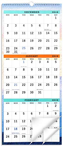 "2019 Wall Calendar - 3-Month Display Vertical Calendar, Calendar Planner 2019, 11"" x 26"", Large, December 2018 - January 2020"