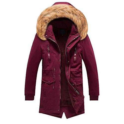 Realdo Men's Plush Coat, Mens Warm Overcoat Outwear Solid Casual Long Hoodie Inner Plush Parka(X-Large,Red)