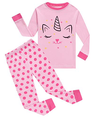 cat Big Girls Long Sleeve Pajama Sets 100% Cotton Pjs Size 8 -